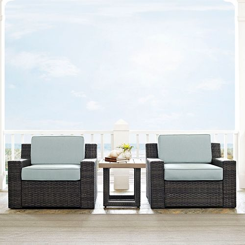 Crosley Furniture Beaufort Patio Arm Chair & End Table 3-piece Set