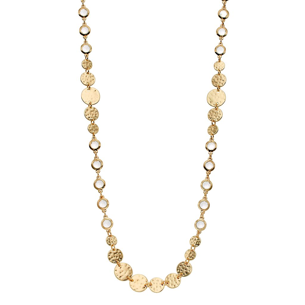 Dana Buchman Long Hammered Disc Station Necklace