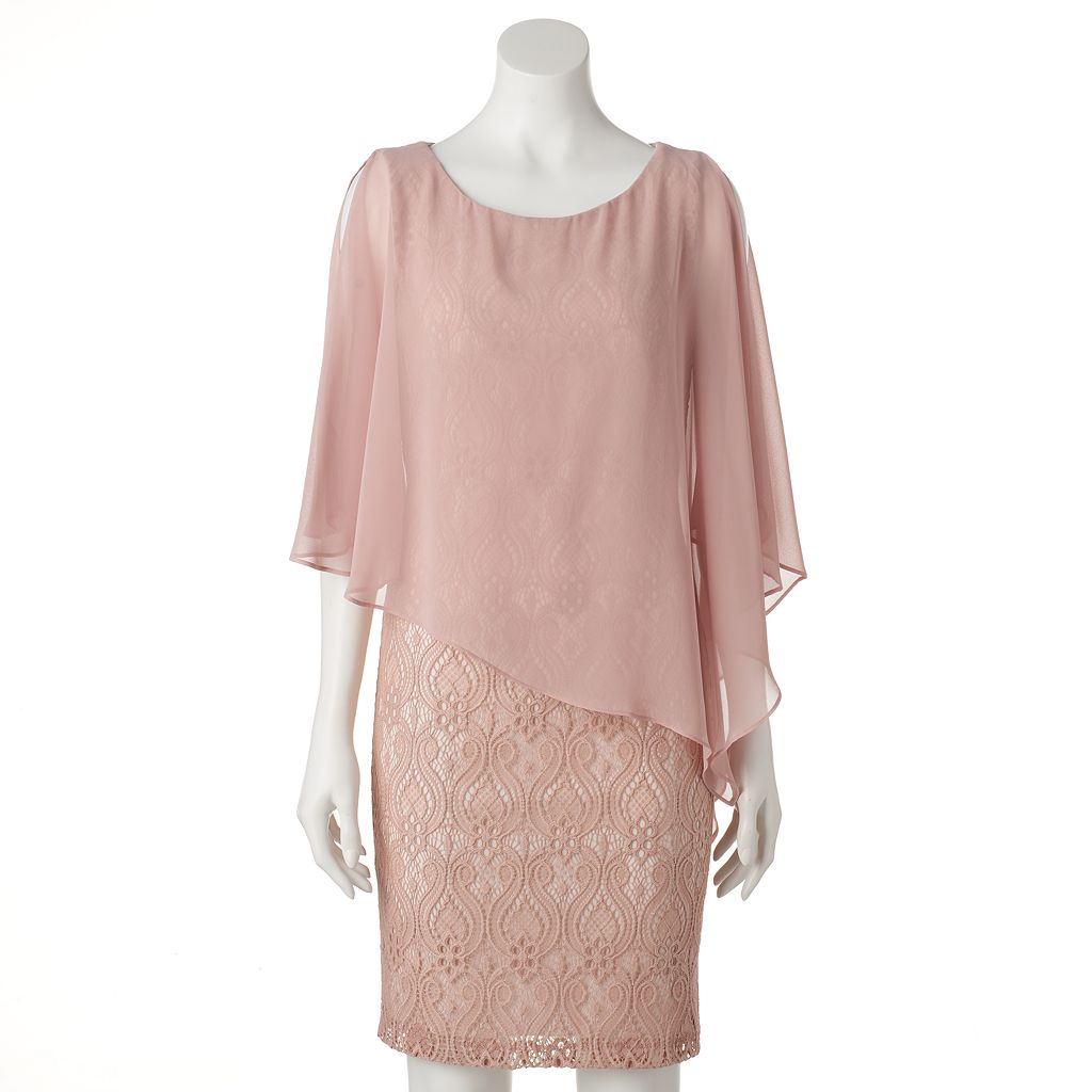 Women's Connected Apparel Lace Asymmetrical Popover Dress