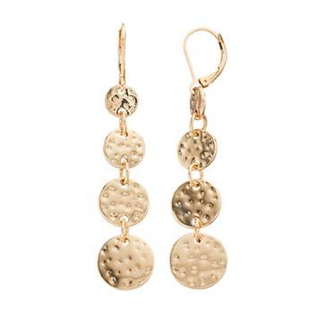 Dana Buchman Hammered Disc Nickel Free Linear Drop Earrings