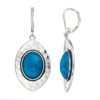 Dana Buchman Aqua Cabochon Marquise Nickel Free Drop Earrings