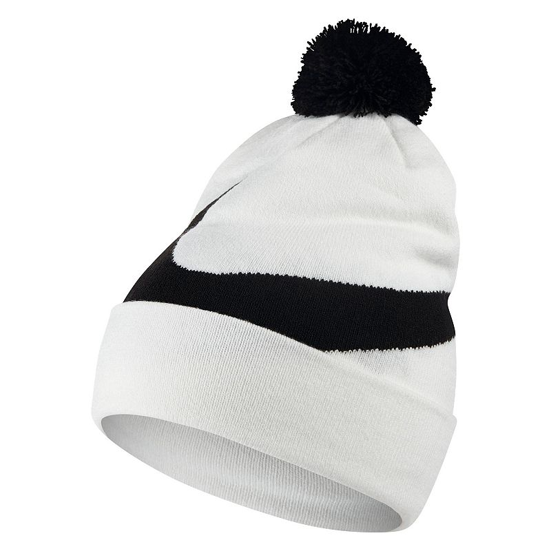 Men's Nike Beanie, White For the colder months, this men's Nike beanie will keep you toasty. Removable pom on top Fold-over cuff Fabric & Care Acrylic, nylon, spandex Machine wash Imported Size: Onesize. Color: White. Gender: Male. Age Group: Adult.