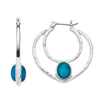 Dana Buchman Blue Oval Nickel Free Double Hoop Earrings