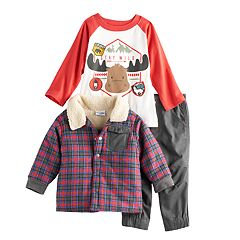 Baby Boy Nannette 3 pc Plaid Jacket, Raglan Tee & Pants Set