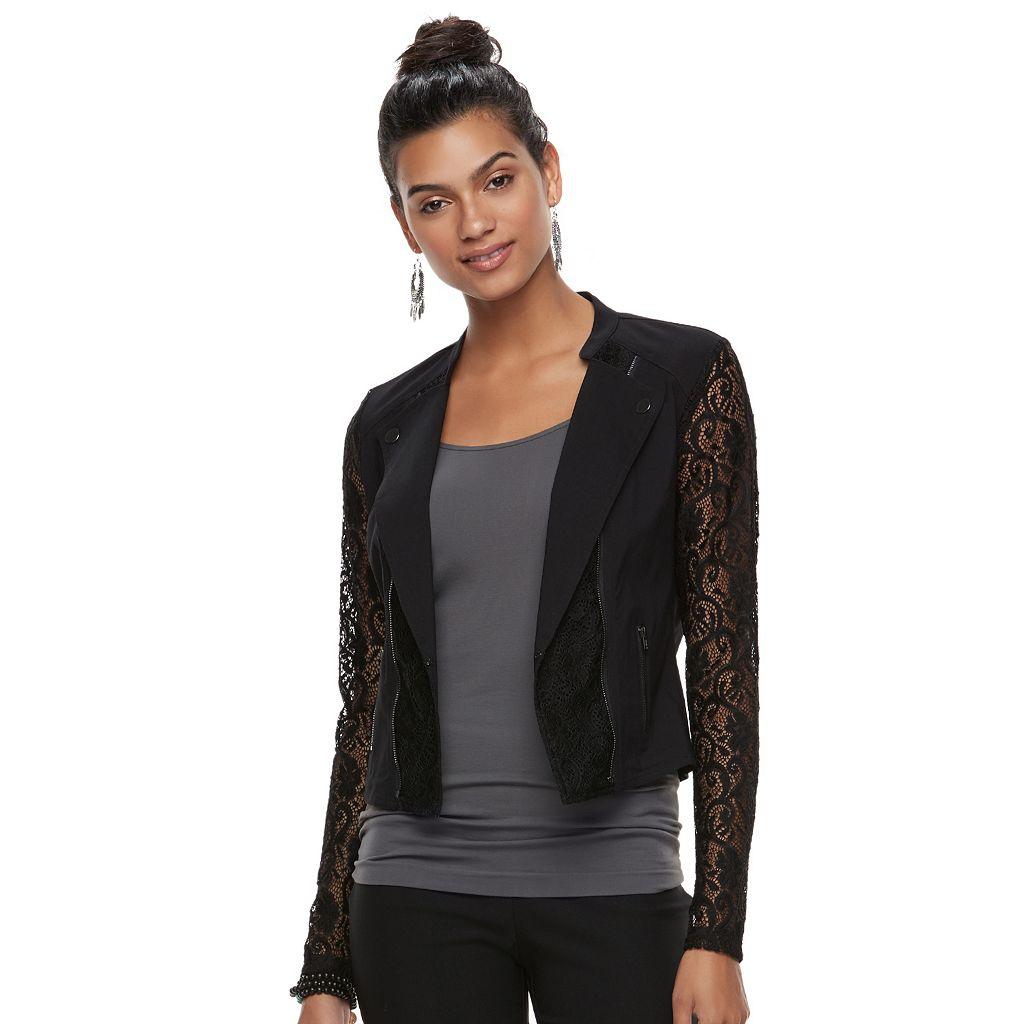 Juniors' Candie's® Lace Crop Moto Jacket