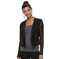 Juniors' Candie's® Lace Crop Moto Jacket