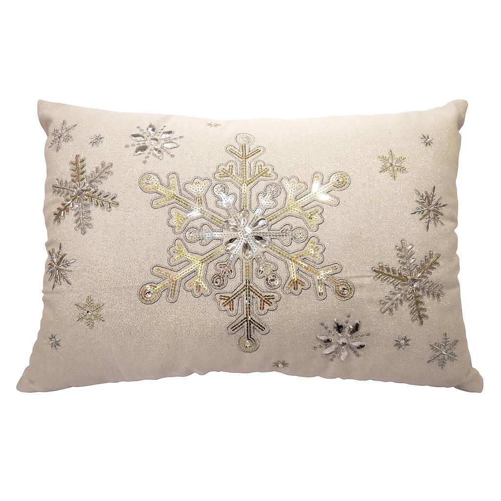 St. Nicholas Square® Beaded Snowflake Oblong Throw Pillow