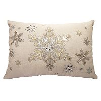 St. Nicholas Square® Beaded Snowflake Oblong Throw Pillow