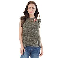 Juniors' IZ Byer Applique Lace Top