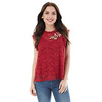 Juniors' IZ Byer California Applique Lace Top
