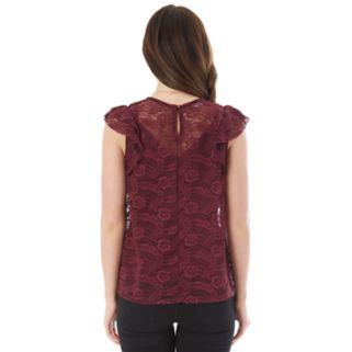 Juniors' IZ Byer Necklace Lace Top