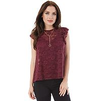 Juniors' IZ Byer Necklace Lace Top