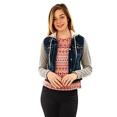 Juniors' Wallflower Hooded Knit Sleeve Denim Jacket