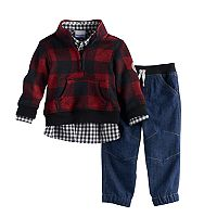 Baby Boy Nannette 3 pc Plaid Pullover Sweater, Plaid Shirt & Jeans Set