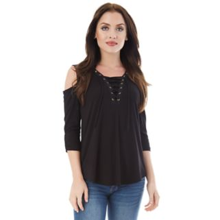 Juniors' IZ Byer California Lace-Up Cold Shoulder Top