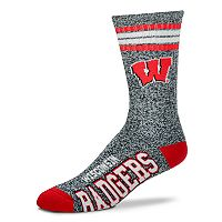 Adult For Bare Feet Wisconsin Badgers Got Marbled Crew Socks