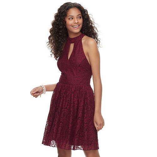 Juniors' Speechless Lace Choker Neck Fit & Flare Dress
