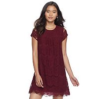 Juniors' Speechless Lace Scallop Hem Shift Dress