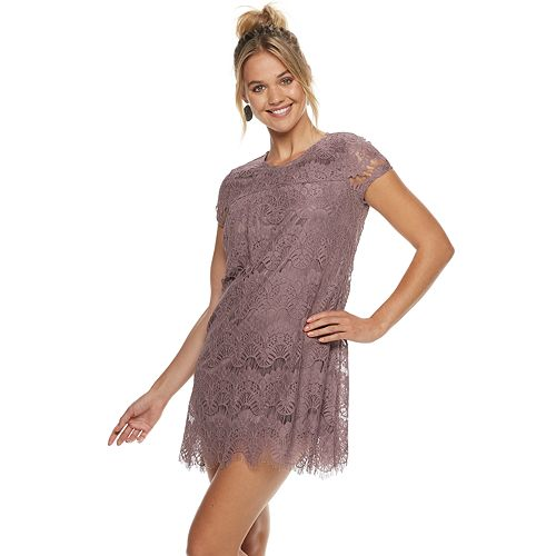 96be5fa7e5c Juniors  Speechless Lace Scallop Hem Shift Dress