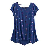 Girls 7-16 & Plus Size SO® Patterned Cageback Handkerchief Hem Legging Tee