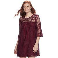 Juniors' Speechless Lace Bell Sleeve Dress
