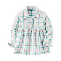 Girls 4-8 Carter's Turquoise Plaid Babydoll Top