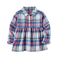 Girls 4-8 Carter's Pink & Blue Plaid Babydoll Top