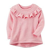 Girls 4-8 Carter's Ruffle Front French Terry Sweater