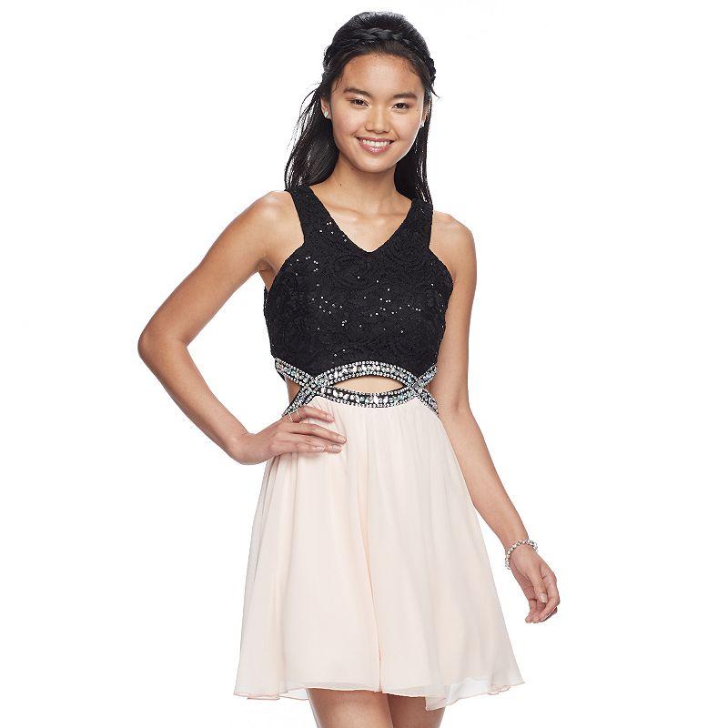 47f46c3e9 Juniors' Speechless Open-Back Lace Skater Dress (Light Pink ...