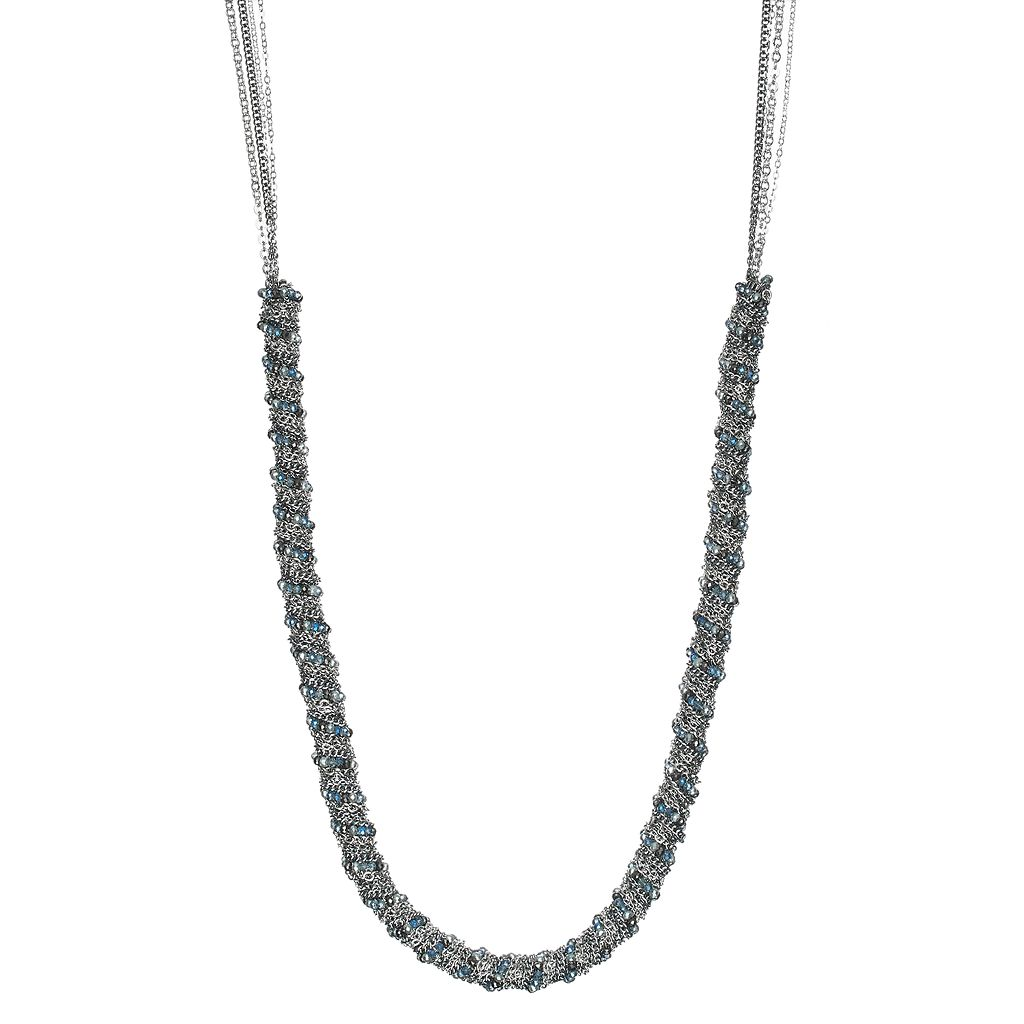 Simply Vera Vera Wang Blue Bead & Chain Wrapped Long Necklace