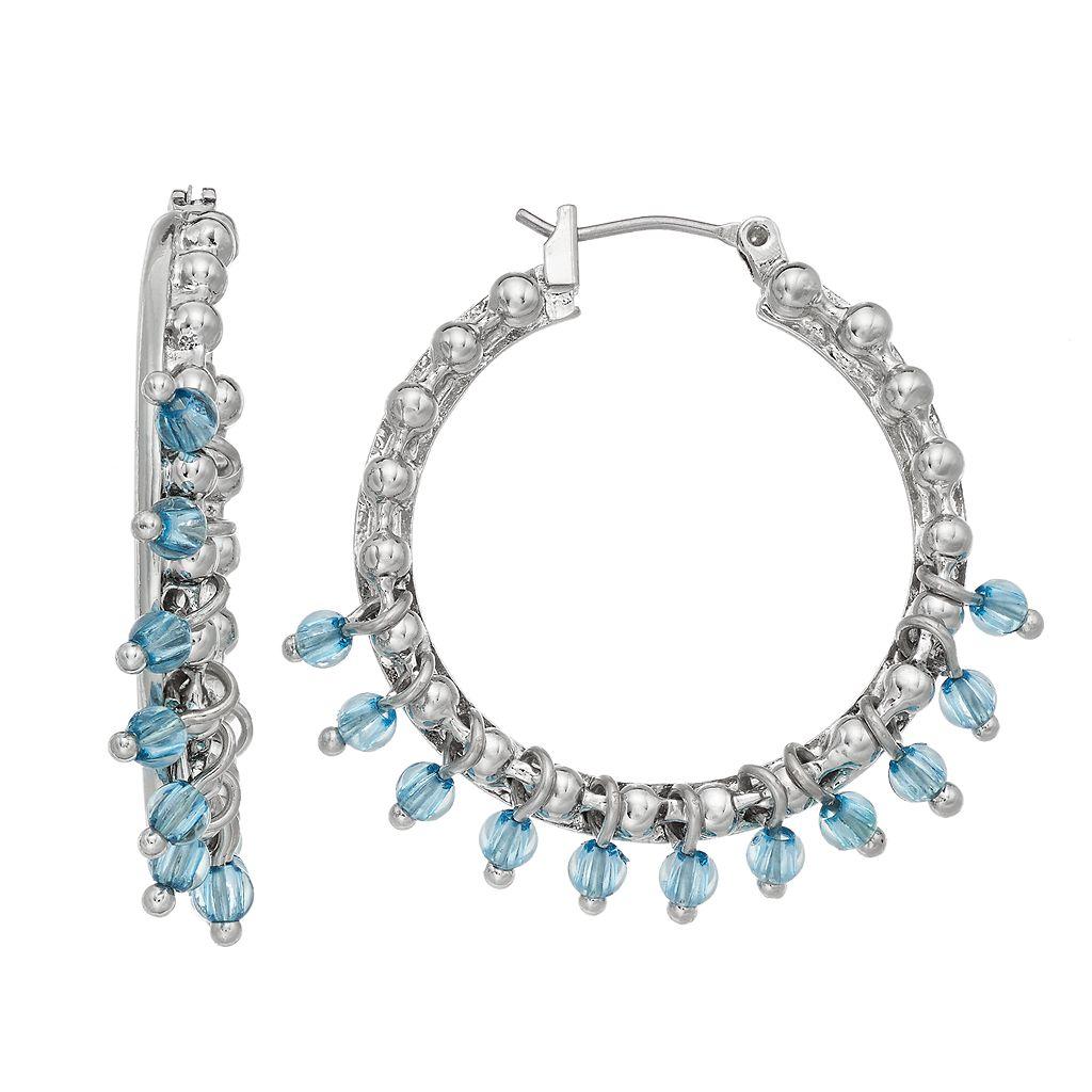 Simply Vera Vera Wang Nickel Free Blue Shaky Bead Hoop Earrings