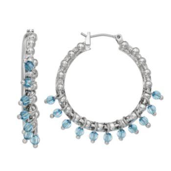 Simply Vera Vera Wang Blue Shaky Bead Hoop Earrings