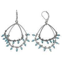 Simply Vera Vera Wang Nickel Free Two Tone Blue Beaded Double Hoop Earrings