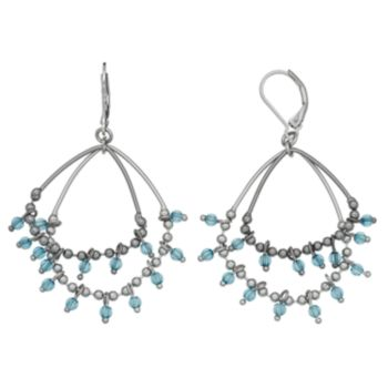 Simply Vera Vera Wang Two Tone Blue Beaded Double Hoop Earrings