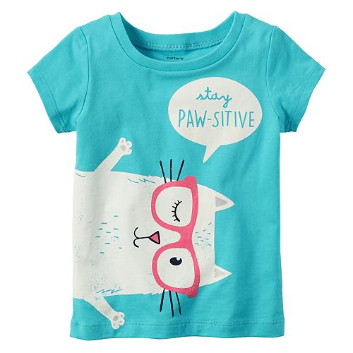 """Girls 4-8 Carter's """"Stay Paw-Sitive"""" Cat Tee"""