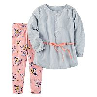 Girls 4-8 Carter's Striped Tunic & Floral Leggings Set