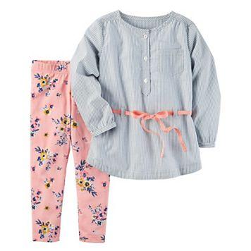 Girls 4-8 Carter's Striped Tunic & Floral Leggings Set