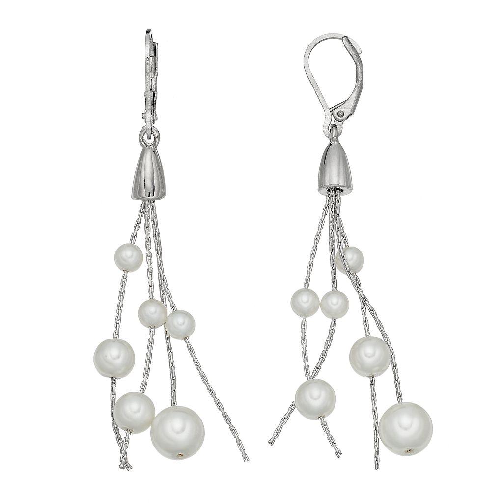 Simply Vera Vera Wang Nickel Free Simulated Pearl Tassel Drop Earrings