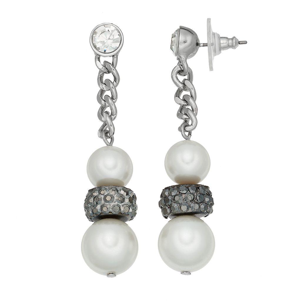 Simply Vera Vera Wang Nickel Free Simulated Pearl Chain Drop Earrings