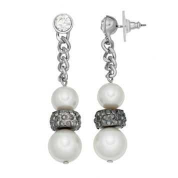 Simply Vera Vera Wang Nickel Free Simulated Pearl Chain Drop Earrings