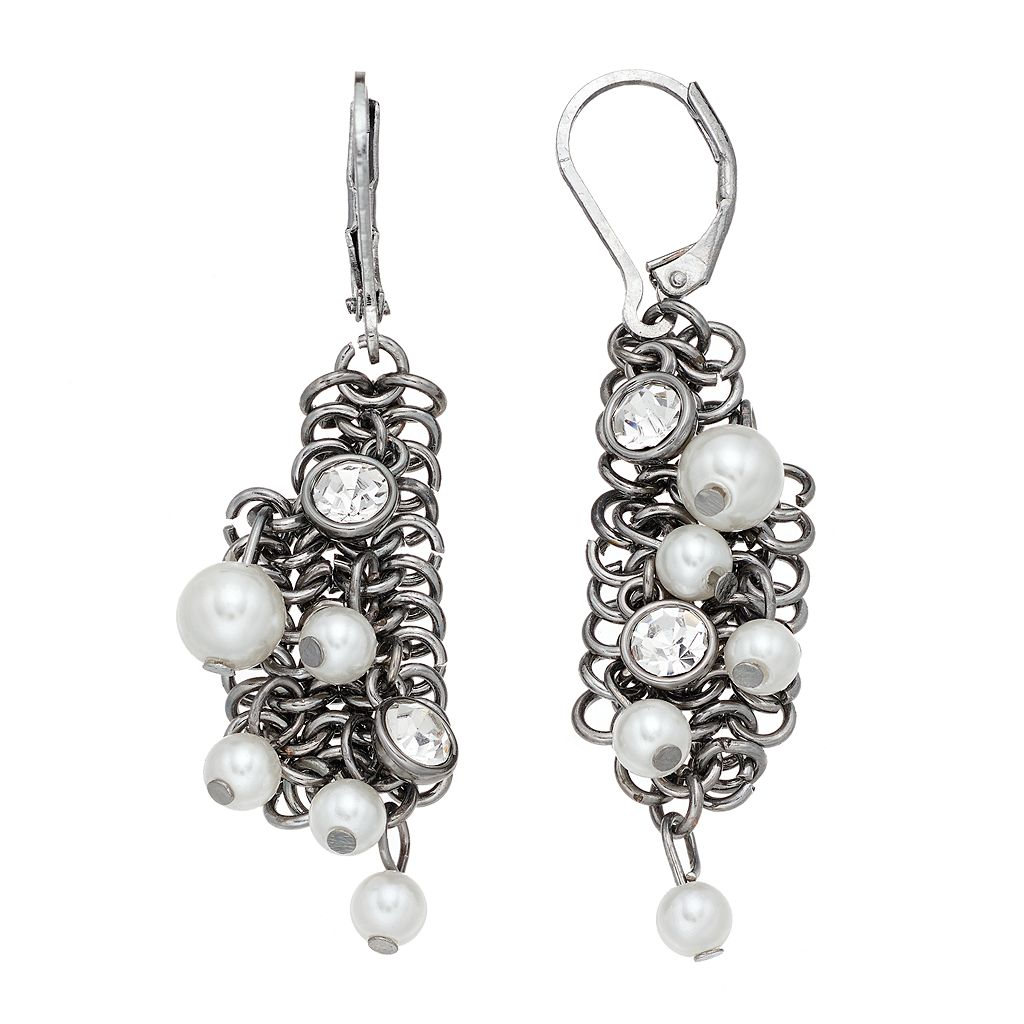 Simply Vera Vera Wang Nickel Free Simulated Pearl Chain Cluster Drop Earrings