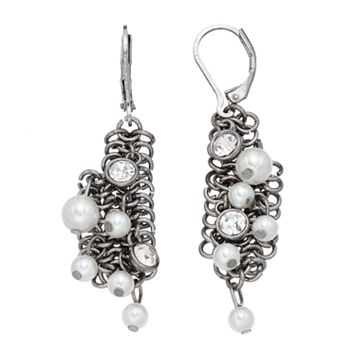 Simply Vera Vera Wang Simulated Pearl Chain Cluster Drop Earrings