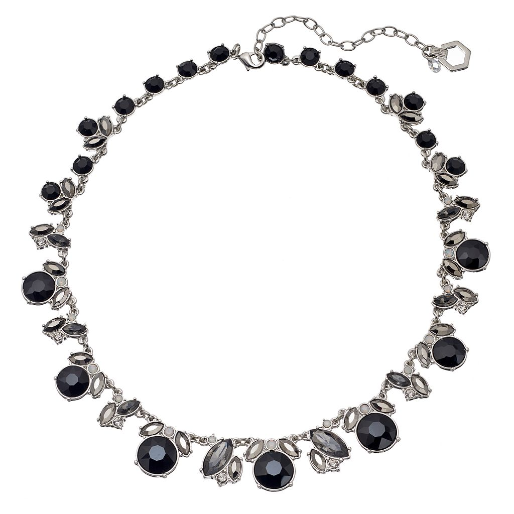 Simply Vera Vera Wang Black Graduated Stone Cluster Necklace