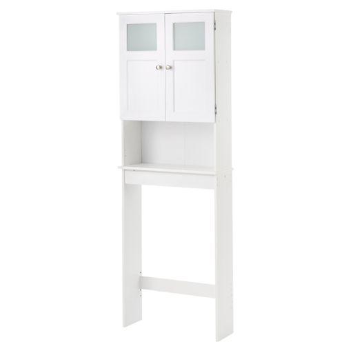White Wood Over The Toilet Shelf