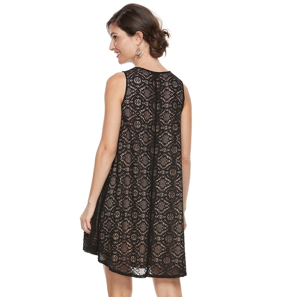 Women's Zac And Rachel Sleeveless Lace Swing Dress