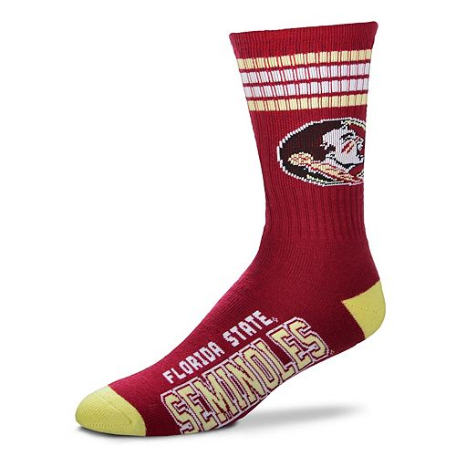 Adult For Bare Feet Florida State Seminoles Deuce Striped Crew Socks