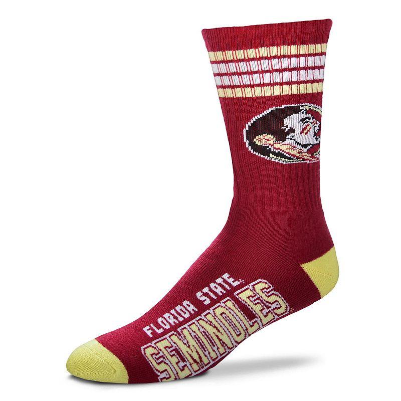 Adult For Bare Feet Florida State Seminoles Deuce Striped Crew Socks, Men's, Size: Large, Team
