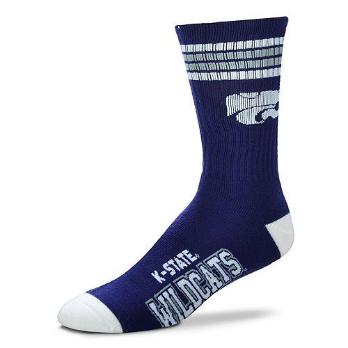 Adult For Bare Feet Kansas State Wildcats Deuce Striped Crew Socks
