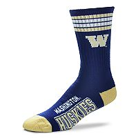 Adult For Bare Feet Washington Huskies Deuce Striped Crew Socks