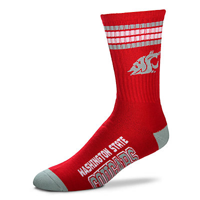 Men's For Bare Feet Washington State Cougars Deuce Striped Crew Socks